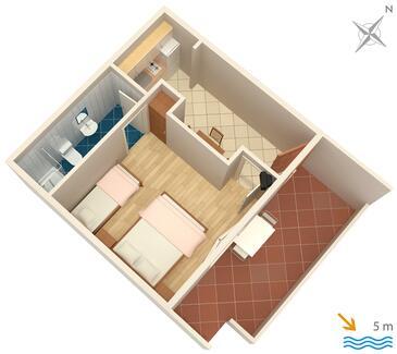Zaklopatica, Schema nell'alloggi del tipo apartment, animali domestici ammessi e WiFi.