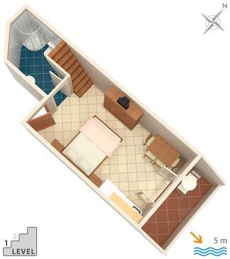 Zaklopatica, Grundriss in folgender Unterkunftsart studio-apartment, Haustiere erlaubt und WiFi.