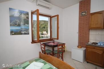 Zaklopatica, Dining room in the studio-apartment, air condition available, (pet friendly) and WiFi.
