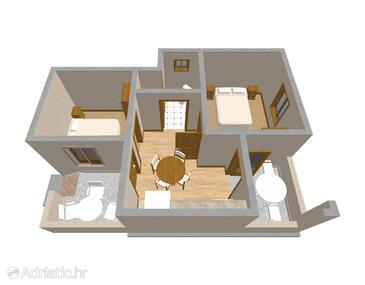 Lukoran, Půdorys v ubytování typu apartment, domácí mazlíčci povoleni a WiFi.