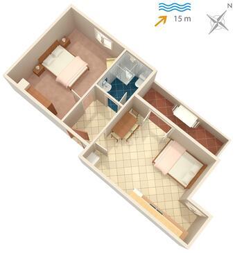 Kali, Pôdorys v ubytovacej jednotke apartment, WIFI.