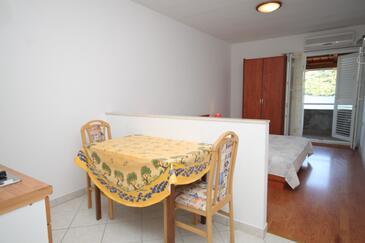 Pasadur, Sala da pranzo nell'alloggi del tipo studio-apartment, animali domestici ammessi e WiFi.