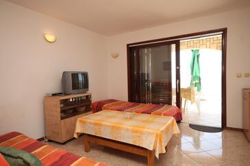 Ždrelac, Obývacia izba v ubytovacej jednotke apartment, domáci miláčikovia povolení a WiFi.