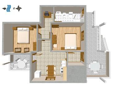 Sušica, Plan kwatery w zakwaterowaniu typu apartment, dopusteni kucni ljubimci i WIFI.