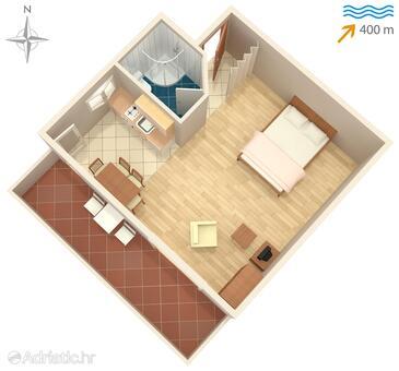 Ždrelac, Půdorys v ubytování typu studio-apartment, domácí mazlíčci povoleni a WiFi.