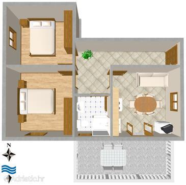 Ugljan, Půdorys v ubytování typu apartment, domácí mazlíčci povoleni a WiFi.