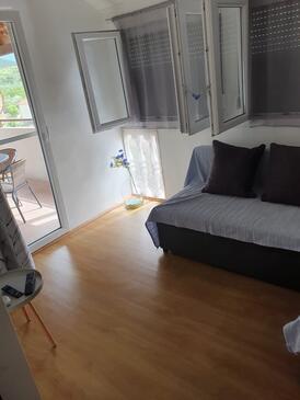 Mrljane, Obývacia izba v ubytovacej jednotke apartment, dostupna klima i WIFI.