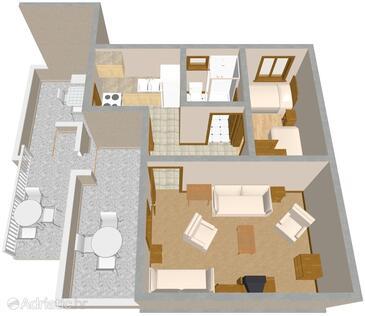 Sveti Petar, Půdorys v ubytování typu apartment, domácí mazlíčci povoleni a WiFi.