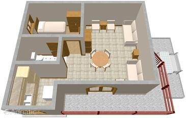 Sveti Petar, plattegrond in the apartment, (pet friendly) en WiFi.