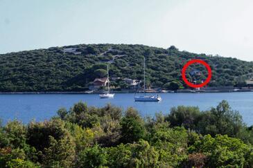 Lanđin, Pašman, Objekt 8500 - Počitniška hiša v bližini morja s kamnito plažo.