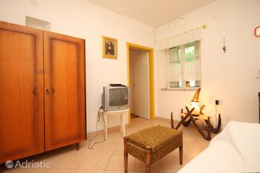 Pašman, Living room in the apartment, dopusteni kucni ljubimci i WIFI.
