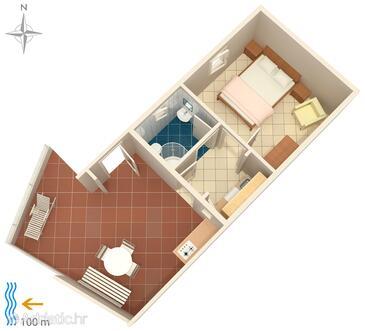 Podaca, Alaprajz szállásegység típusa apartment, háziállat engedélyezve és WiFi .