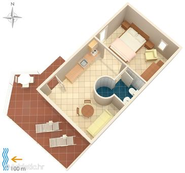 Podaca, plattegrond in the studio-apartment, (pet friendly) en WiFi.