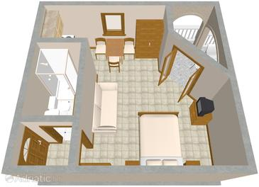 Drage, Plan in the studio-apartment, WIFI.