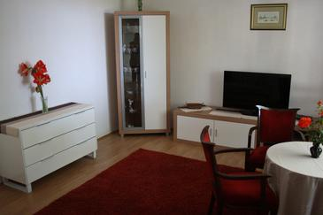 Brsečine, Living room in the apartment, (pet friendly) and WiFi.