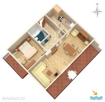 Molunat, Půdorys v ubytování typu apartment, WiFi.