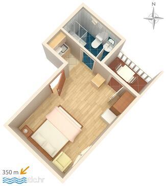 Biograd na Moru, Plan in the studio-apartment, WIFI.