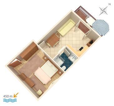 Biograd na Moru, Plan kwatery w zakwaterowaniu typu apartment, WiFi.