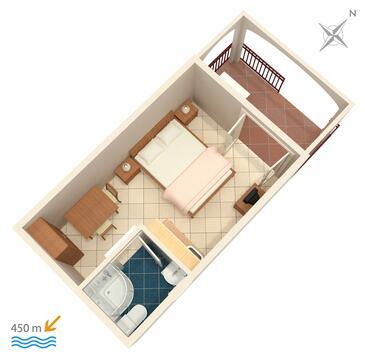 Biograd na Moru, Plan kwatery w zakwaterowaniu typu studio-apartment, WiFi.
