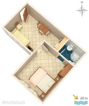 Slano, План в размещении типа apartment, WiFi.