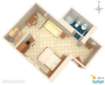 Slano, План в размещении типа studio-apartment, WiFi.