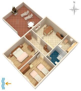 Seget Vranjica, Pôdorys v ubytovacej jednotke apartment, dopusteni kucni ljubimci i WIFI.