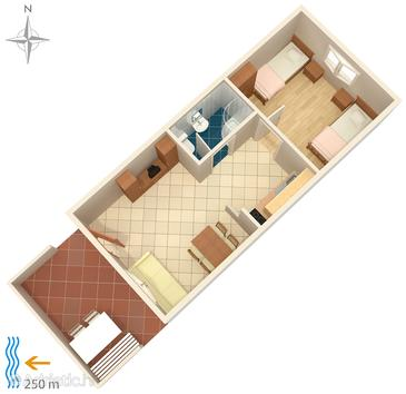 Seget Vranjica, plattegrond in the apartment, (pet friendly) en WiFi.