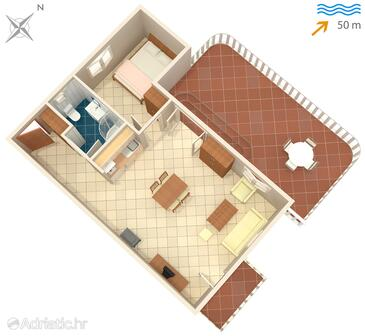 Okrug Gornji, Plan in the apartment, (pet friendly) and WiFi.