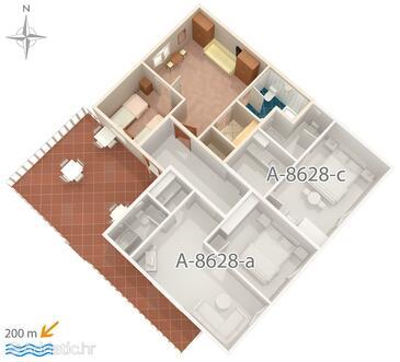 Povlja, Půdorys v ubytování typu apartment, WiFi.