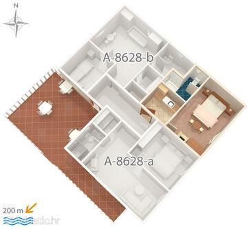 Povlja, Plan in the apartment, WiFi.