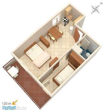 Biograd na Moru, Půdorys v ubytování typu studio-apartment, domácí mazlíčci povoleni a WiFi.