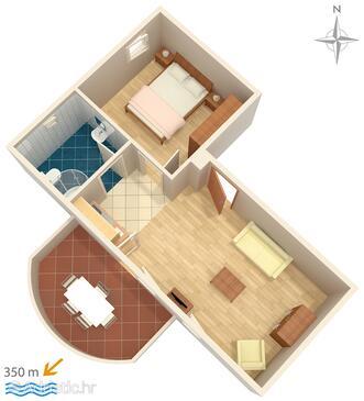 Vinišće, Půdorys v ubytování typu apartment, WiFi.