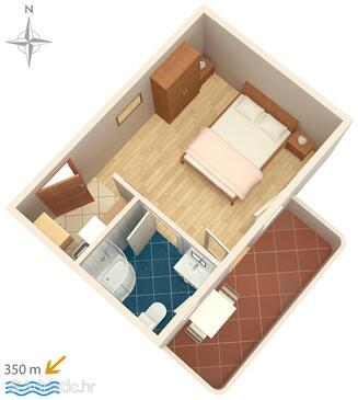 Vinišće, Plan in the studio-apartment, WiFi.