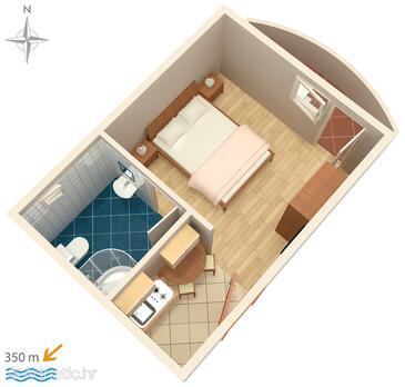 Vinišće, Půdorys v ubytování typu studio-apartment, WiFi.