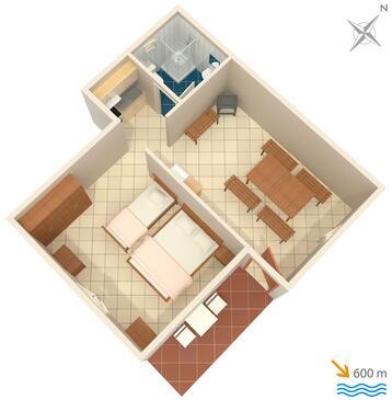 Punta križa, Půdorys v ubytování typu apartment, domácí mazlíčci povoleni a WiFi.