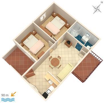 Kaštel Kambelovac, Plan kwatery w zakwaterowaniu typu apartment, WiFi.
