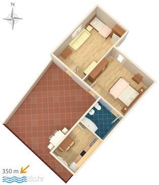 Makarska, Plan in the apartment.
