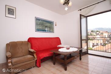 Jelsa, Living room in the apartment, dopusteni kucni ljubimci i WIFI.