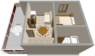 Žman, Plan in the apartment, (pet friendly).