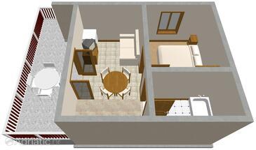 Žman, Půdorys v ubytování typu apartment, domácí mazlíčci povoleni.