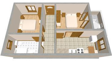 Sali, Půdorys v ubytování typu apartment, domácí mazlíčci povoleni.