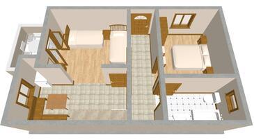 Sali, Plan kwatery w zakwaterowaniu typu apartment, dopusteni kucni ljubimci.