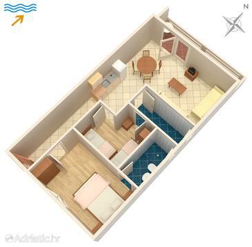 Jelsa, Půdorys v ubytování typu apartment, WiFi.