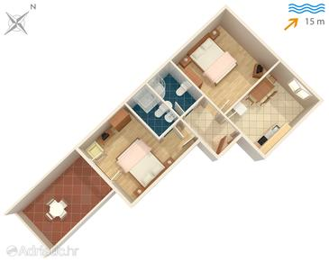 Hvar, Plan in the apartment, dopusteni kucni ljubimci i WIFI.