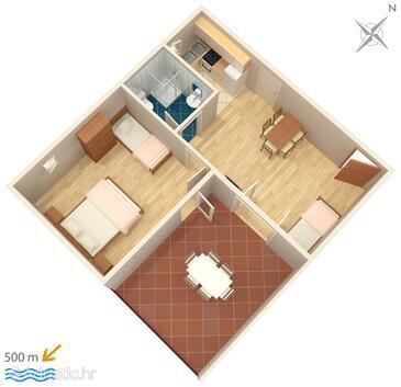 Zavala, Nacrt u smještaju tipa apartment, kućni ljubimci dozvoljeni i WiFi.