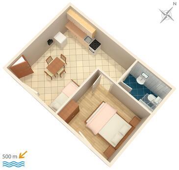 Zavala, Pôdorys v ubytovacej jednotke apartment, domáci miláčikovia povolení a WiFi.