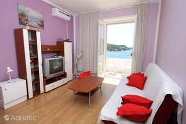 Zaton Mali, Living room in the apartment, dostupna klima, dopusteni kucni ljubimci i WIFI.