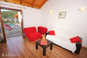 Zaton Mali, Living room in the apartment, air condition available, (pet friendly) and WiFi.