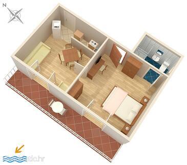 Soline, Plan in the apartment, dopusteni kucni ljubimci i WIFI.