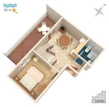 Marina, Načrt v nastanitvi vrste apartment, WiFi.
